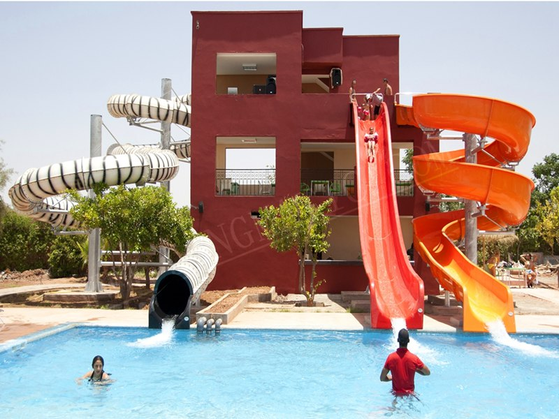 Kids Sled slide with pool in aqua park