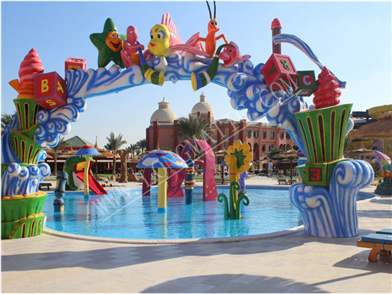 kids splash pool with beautiful animal gate